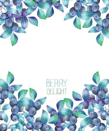 Eine Vorlage einer Postkarte, Hintergrund für einen Text mit den Heidelbeeren Zweige, in einem Aquarell auf einem weißen Hintergrund, eine Dekoration Postkarte oder Einladung für eine Hochzeit, Feier, Urlaub von Hand gezeichnet