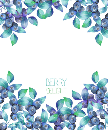 Un modello di una cartolina, sfondo per un testo con i mirtilli rami, disegnati a mano in un acquerello su uno sfondo bianco, una cartolina decorazione o un invito per un matrimonio, celebrazione, vacanza