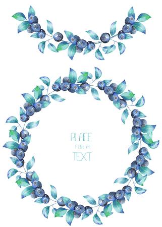 サークル フレーム、花輪、手描き水彩画で白の背景、装飾はがきや結婚式、お祝い、休日のための招待にブルーベリーの枝の花輪 写真素材