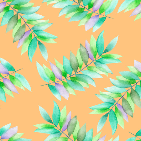 brake fern: A seamless floral pattern with the green and violet leaves on the branches, hand-drawn in a watercolor on a tender orange background