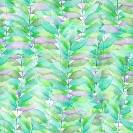 brake fern: A seamless floral pattern with the transparent green and violet leaves on the branches, hand-drawn in a watercolor Stock Photo