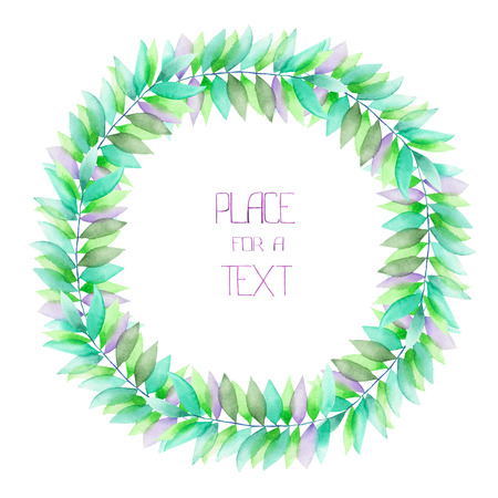palm wreath: A circle frame, wreath with a floral ornament of the watercolor green and violet leaves on the branches, for a text on a white background, a greeting card, a decoration postcard or wedding invitation