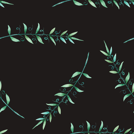 tender: A seamless pattern with the watercolor green branches, hand-drawn on a black background, wedding, tender decoration Stock Photo