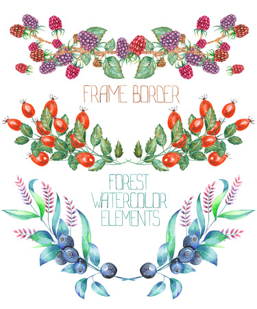 A frame borders with a floral ornament of the watercolor forest elements: blackberries, barberries and blueberries, on a white background, for a greeting card, a decoration of a wedding invitation