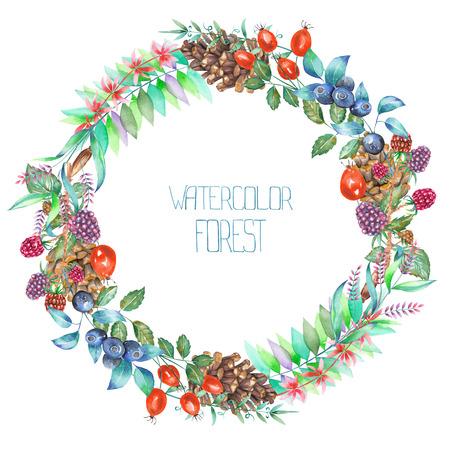 Una cornice cerchio, corona con un ornamento floreale degli elementi acquerello forestali (bacche, coni, foglie e rami) per un testo su uno sfondo bianco, un biglietto di auguri o invito a nozze