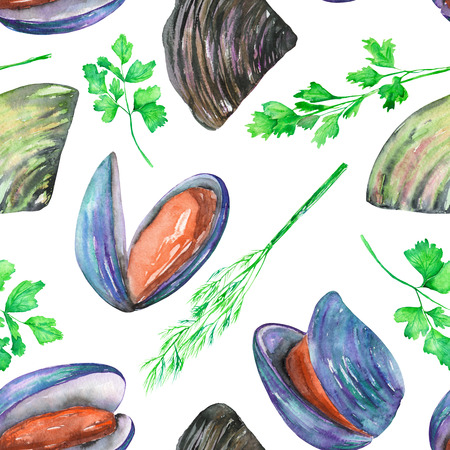 greenery: A seamless pattern with the isolated watercolor mussels and greenery, hand-drawn on a white background