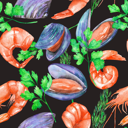 greenery: A seamless pattern with the isolated watercolor shrimps, mussels and greenery, hand-drawn on a white background