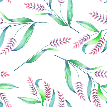 spikelets: A seamless pattern with an floral ornament of the watercolor spikelets, hand-drawn on a white background