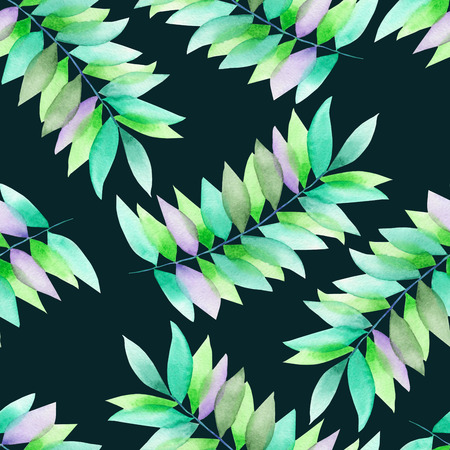 florescence: A seamless floral pattern with the green and violet leaves on the branches, hand-drawn in a watercolor on a dark green background