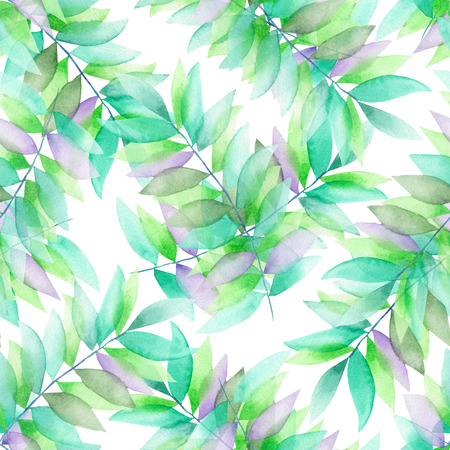 florescence: A seamless floral pattern with the green and violet leaves on the branches, hand-drawn in a watercolor on a white background
