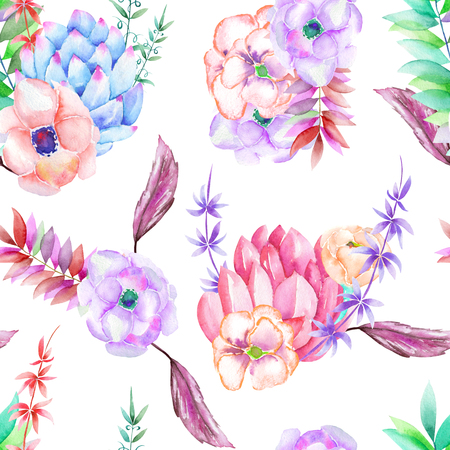 peyote: A seamless pattern with the succulents, flowers, leaves and branches, hand-drawn on a white background