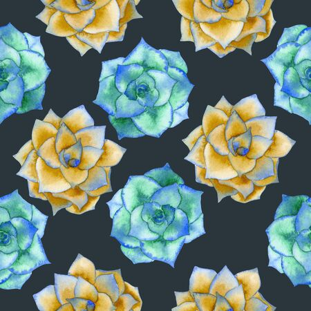 A seamless pattern with the watercolor blue and yellow succulents, hand-drawn on a dark background Stock Photo