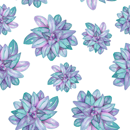florescence: A seamless pattern with the watercolor blue succulents, hand-drawn on a white background Stock Photo