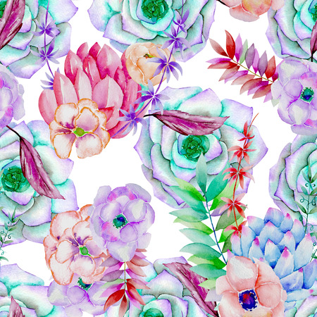 florescence: A seamless pattern with the succulents, flowers, leaves and branches, on a white background Stock Photo