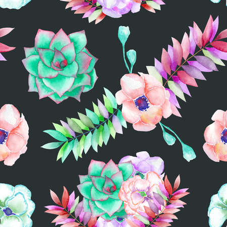 palm wreath: A seamless pattern with the succulents, flowers, leaves and branches, hand-drawn on a dark background Stock Photo