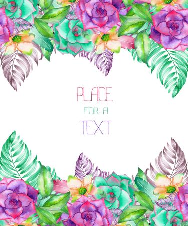 はがきのテンプレート、水彩の多肉植物、花やヤシの葉、白い背景、グリーティング カード、結婚式招待状の手書きの花飾りとフレームの枠線 写真素材