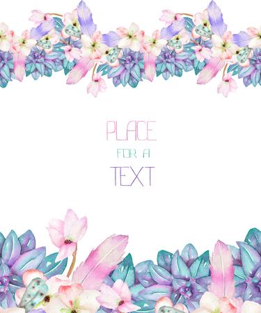 Een model van een ansichtkaart, frame grens met florale versiering van de aquarel vetplanten, bloemen en veren, met de hand getekend op een witte achtergrond, een wenskaart, bruiloft uitnodiging