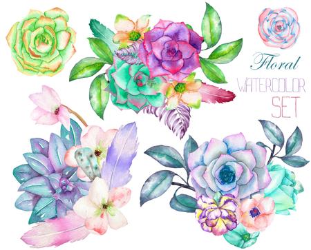 A dekoratív csokrok az akvarell virág elemekkel: pozsgások, virágok, levelek és ágak, fehér alapon, egy üdvözlőlap, a dekoráció egy esküvői meghívó