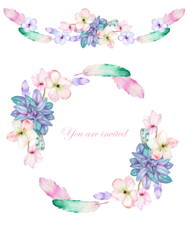 A frame, wreath and frame border (garland) for a text with the watercolor flowers, feathers and succulents, hand-drawn on a white background, a greeting card, a decoration postcard, wedding invitation