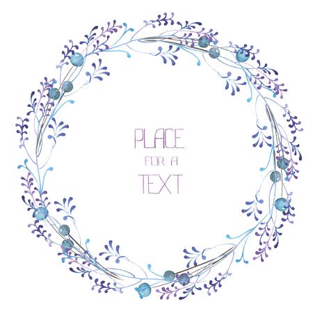 フレーム、花輪、水彩の青い果実と紫枝、白い背景、グリーティング カード、装飾はがき、結婚式招待状の手書きテキストのフレームの枠線