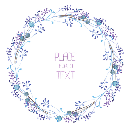 A frame, wreath, frame border for a text with the watercolor blue berries and violet branches, hand-drawn on a white background, a greeting card, a decoration postcard, wedding invitation Stockfoto