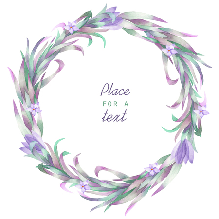 florescence: A frame, wreath, frame border for a text with the watercolor crocus flowers and branches, hand-drawn on a white background, a greeting card, a decoration postcard, wedding invitation
