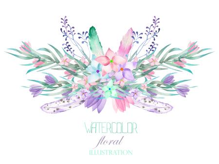 Иллюстрации, изображение цветочный букет с цветами, ветвями, листьями и перья; изолированные нарисованные от руки в акварели на белом фоне