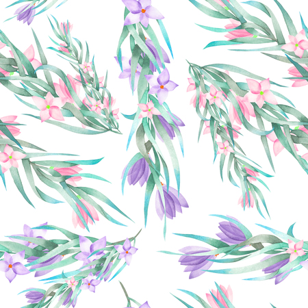 florescence: A seamless pattern with the watercolor floral elements: branches, flowers, leaves, hand-drawn on a white background