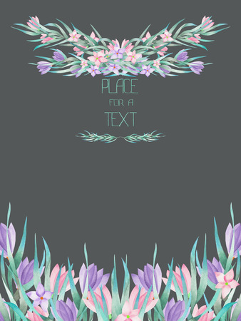 peyote: A frame border, template of a postcard for a text with the watercolor crocus flowers and branches, hand-drawn on a grey background, a greeting card, a decoration postcard, wedding invitation Stock Photo