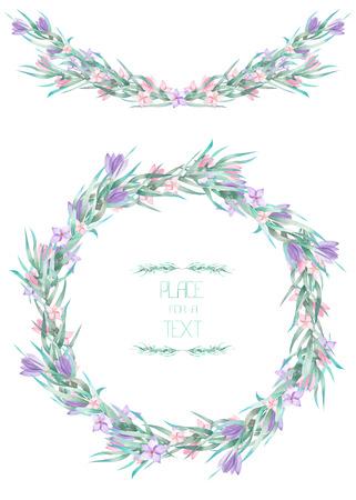 フレーム、花輪、水彩のクロッカスの花と枝、白い背景、グリーティング カード、装飾はがき、結婚式招待状の手書きテキストのフレームの枠線 写真素材