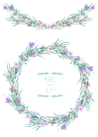 A frame, wreath, frame border for a text with the watercolor crocus flowers and branches, hand-drawn on a white background, a greeting card, a decoration postcard, wedding invitation
