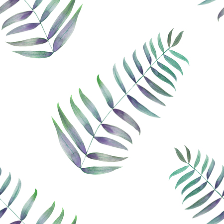 A seamless pattern with the green palm leaves, fern leaves, hand-drawn in watercolor on a white background