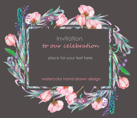 palm wreath: Card template with the floral design; berries, spring flowers and leaves hand-drawn in a watercolor Stock Photo