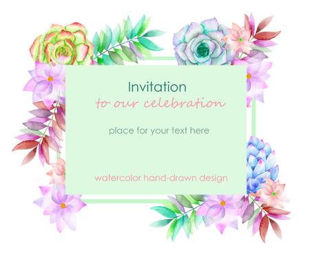 peyote: Card template with the floral design; succulents, flowers and leaves hand-drawn in a watercolor