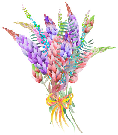 An illustration with a bouquet of the beautiful watercolor bright lupine flowers, isolated hand-drawn in a watercolor on a white background
