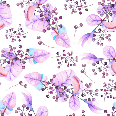 guelder rose: Seamless floral pattern with the watercolor purple leaves and berries on the branches, hand-drawn on a white background