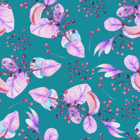 guelder rose: Seamless floral pattern with the watercolor purple leaves and berries on the branches, hand-drawn on a turquoise background