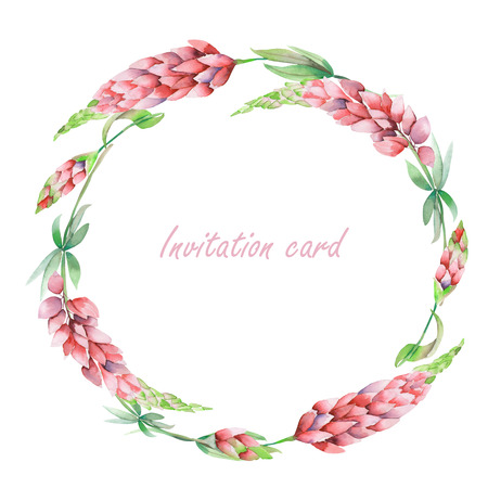 palm wreath: Circle frame, wreath with the floral design; elements of the pink lupine flowers, hand-drawn in a watercolor; decoration for a wedding, greeting card on a white background