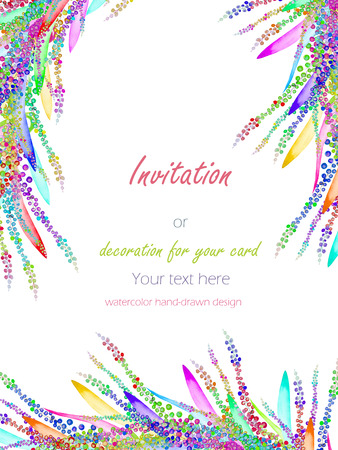 variegated: Card template with the floral design; watercolor abstract variegated mimosa flowers and leaves Stock Photo