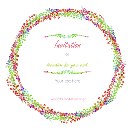 variegated: Circle frame, wreath with the floral design; watercolor abstract variegated mimosa flowers and leaves Stock Photo
