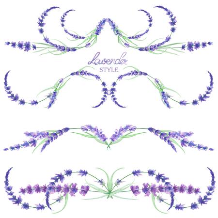 分離フレームボーダーをセット、水彩のラベンダーの花、結婚式または他の装飾のための白い背景の上に手書きで花の装飾の装飾 写真素材
