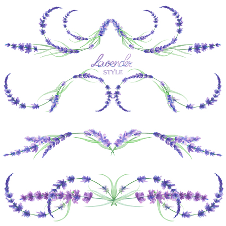 Een set met een geïsoleerde frameranden, bloemen decoratieve versieringen met de aquarel lavendel bloemen, met de hand getekend op een witte achtergrond voor een bruiloft of andere decoratie