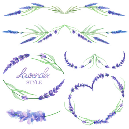 A set with an isolated frame borders, floral decorative ornaments with the watercolor lavender flowers, hand drawn on a white background for a wedding or other decoration Stock Photo