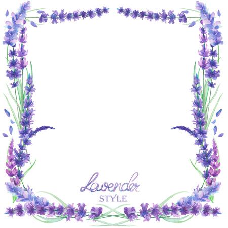 Una plantilla de la tarjeta, la frontera del marco de un texto con las flores de lavanda acuarela, sobre un fondo blanco, una tarjeta de felicitación, una postal de decoración, invitación de la boda dibujado a mano