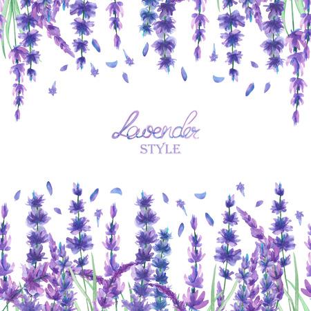 Een kaart sjabloon, kader grens voor een tekst met de aquarel lavendel bloemen, met de hand getekend op een witte achtergrond, een wenskaart, een decoratie kaart, trouwkaart Stockfoto