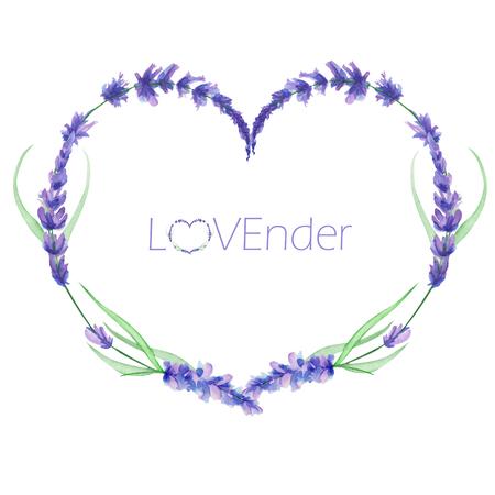ハートのフレーム、花輪、ホワイト バック グラウンド、グリーティング カード、はがきの装飾、結婚式招待状の手描き水彩ラベンダー花付きのテ