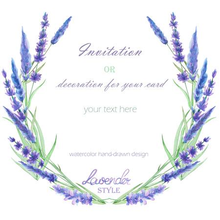 suluboya lavanta çiçekleri ile bir metin için bir çerçeve, çelenk, çerçeve sınır, elle çizilmiş beyaz bir arka plan, bir tebrik kartı, bir dekorasyon kartpostal, düğün davetiyesi üzerine