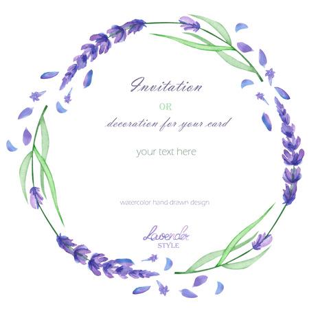フレーム、花輪、ホワイト バック グラウンド、グリーティング カード、はがきの装飾、結婚式招待状の手描き水彩ラベンダー花付きのテキスト フ 写真素材