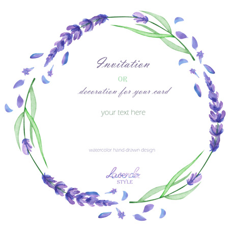 A frame, wreath, frame border for a text with the watercolor lavender flowers, hand-drawn on a white background, a greeting card, a decoration postcard, wedding invitation Banco de Imagens - 55318020