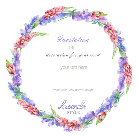 Circle frame, wreath with the floral design; elements of the lavender and pink lupine flowers, hand-drawn in a watercolor; decoration for a wedding, greeting card on a white background